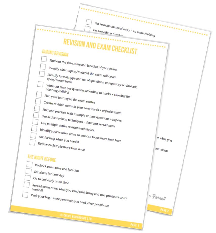 revision and exam checklist printable copy